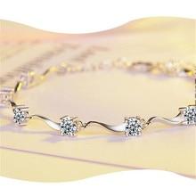 LULU-PIGHot 925 pure silver zircon bracelet Korean version of fashion wave micro