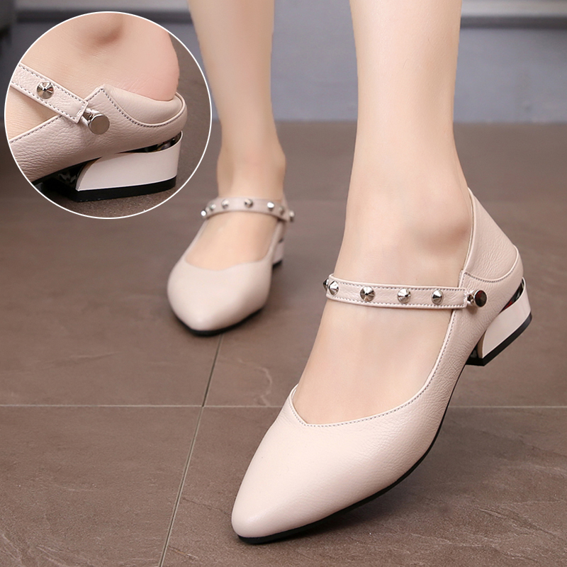 0de72d9020 New Women Flats Strappy Studs Shoes Pointy Toe Mules Slide-on Loafers  Leather Low Heels Ladies Fashion Ballerina Shoes