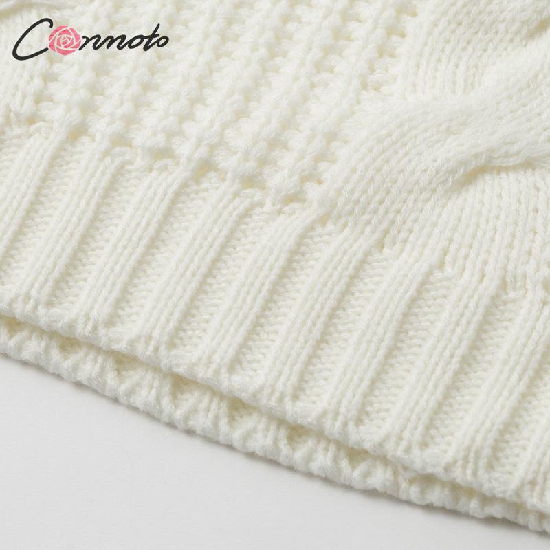 Conmoto Solid Deep Gray Casual Women Sweaters 19 Winter Turtleneck Knitwear Sweater Oversized Tassel Knitted Pullovers Jumpers 19