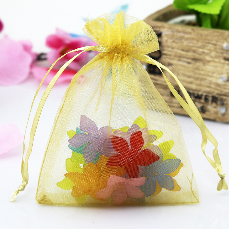 100Pcs 15cmx20cm Gold Plain Organza Gift Bags Wedding/Christmas Favor For Jewelry Packaging Can Customized Logo