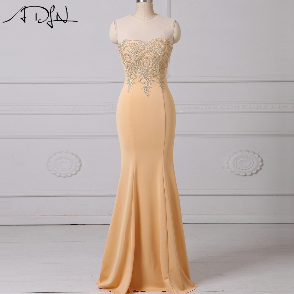 ADLN Long   Evening     Dress   Scoop Sleeveless Appliqued Champagne Mermaid Party Gown Graduation   Dress   Robe de Soiree
