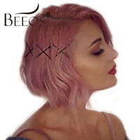 Beeos 180% Density Wavy Lace Front Wigs for Women Pink Short Bob Wig Brazilian Remy Human Hair Middle Part Lace Wigs Pre Plucked
