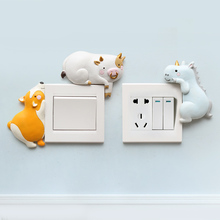 Roogo 12 Chinese Zodiacs Resin Animal Switch Panel Stickers Creative Design Wall Sticker Art Baby Room Decoration