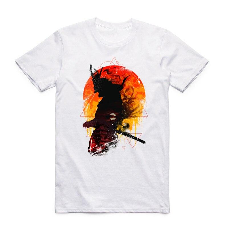 S - XXXL 사무라이 전사 프린트 일본 브랜드 남성 여성 애니메이션 반팔 T 셔츠 여름 반팔 원피스 하라주쿠 T 셔츠