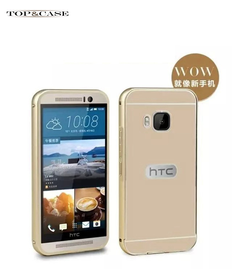 For HTC M9 Cases Slim Aluminum Metal + Acrylic Back Case For HTC One M9 Gold Ultrathin Phone Accessories Cover Shell M9 SJ1958