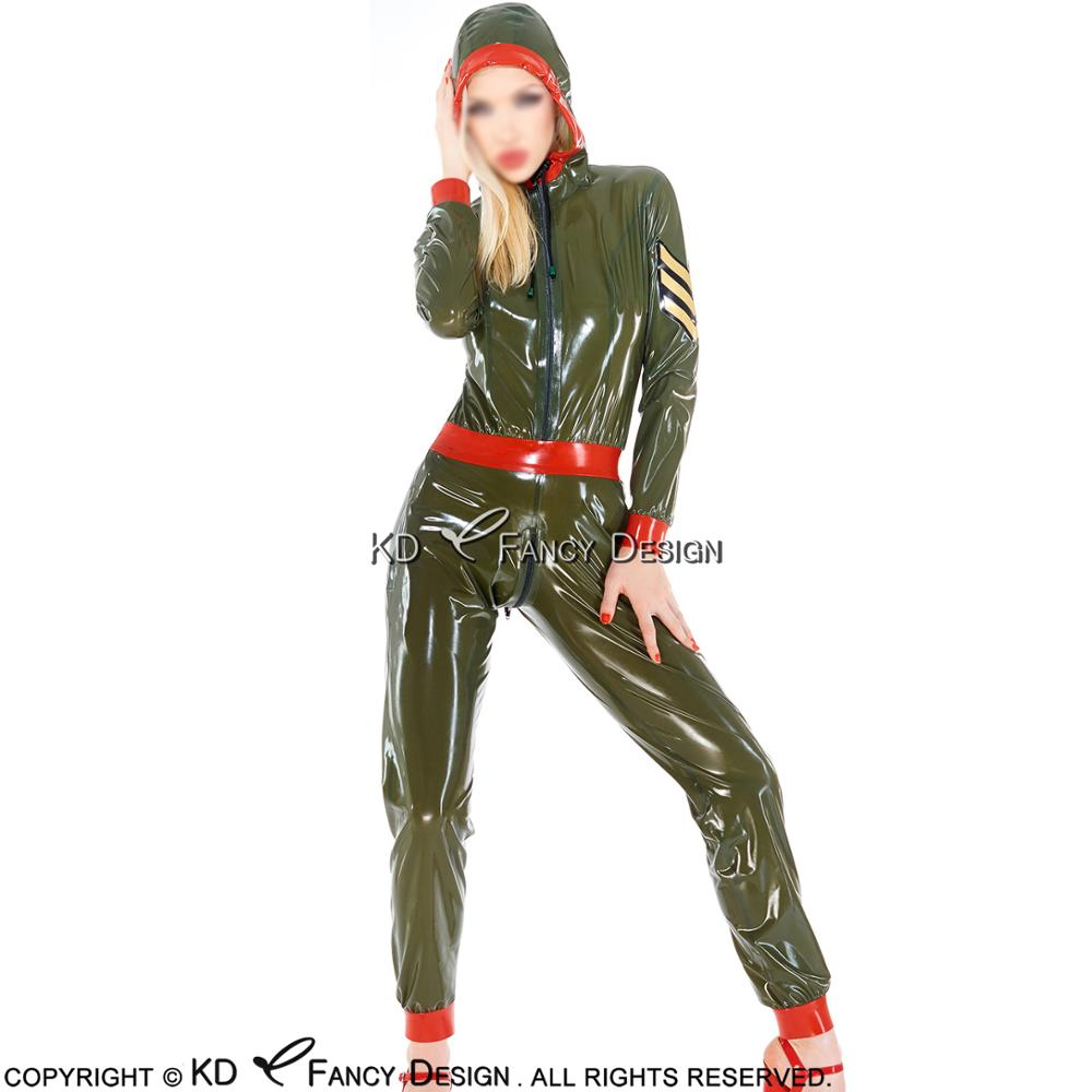 Sexy Military Latex Catsuit With Hoodies Belt Pockets Front And Crotch Zipper Rubber Body Suit Bodysuit Zentai Overall LTY-0084