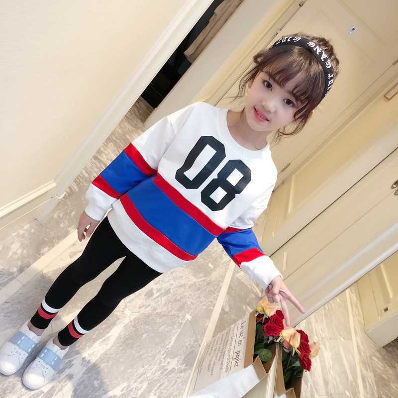 Girls spring suits 2018 spring new children leisure fashion children's sports two-piece set fashion new spring