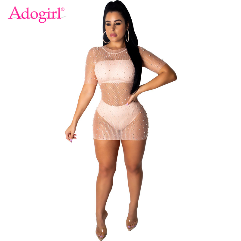 Adogirl Pearls Sheer Mesh Short Sleeve Bodycon Mini Dress Strapless Crop Top Panties Summer Casual Sexy 3 Piece Set Clubwear