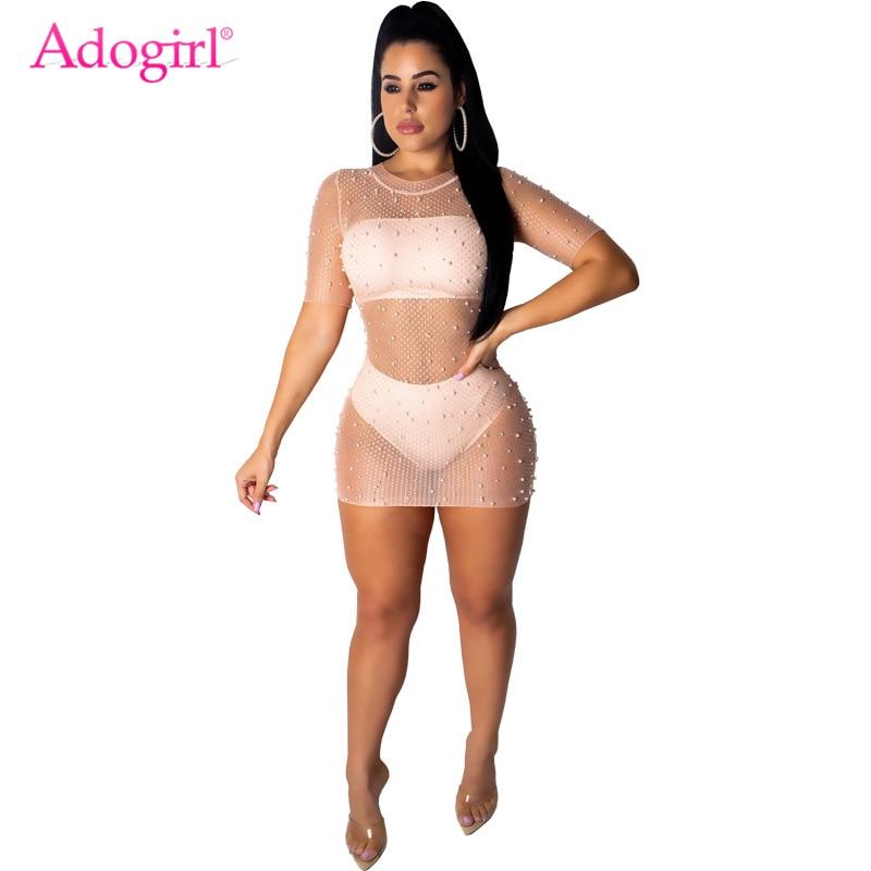 Adogirl Pearls Sheer Mesh Short Sleeve Bodycon Mini Dress Strapless Crop Top Panties Summer Casual Sexy 3 Piece Set Clubwear
