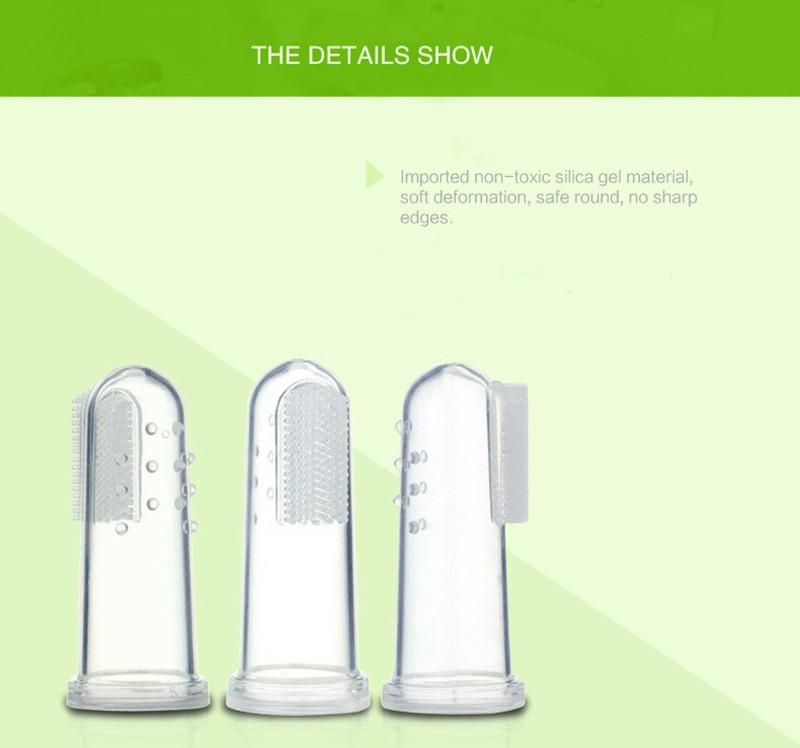 Newbron Pozycji Dziecka Dzieci Opieka Stomatologiczna Gum Zęby Wyczyść Masażu Miękkie Silikonowe Dla Niemowląt Palec Szczoteczka Szczotka 7