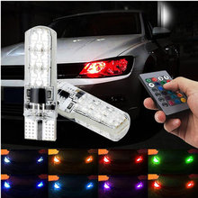 For Nissan Qashqai Juke Almera X-trail Tiida Note Primera Pathfinder Sentra RGB T10 LED Car Parking Light Bulb Remote Control car rear bumper protective decorative strips sticker accessories car styling for nissan qashqai tiida almera juke primera note