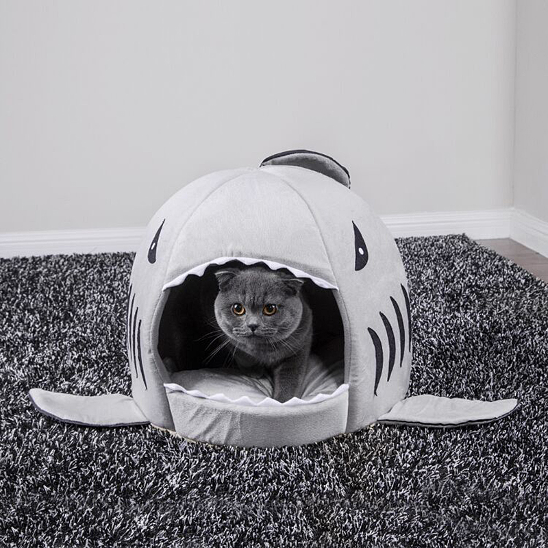 Pet Cat Bed Soft Pet Cushion Dog House Shark For Large Dogs Tent High Quality Cotton Small Dog Sleeping Bag Travel Products Gear