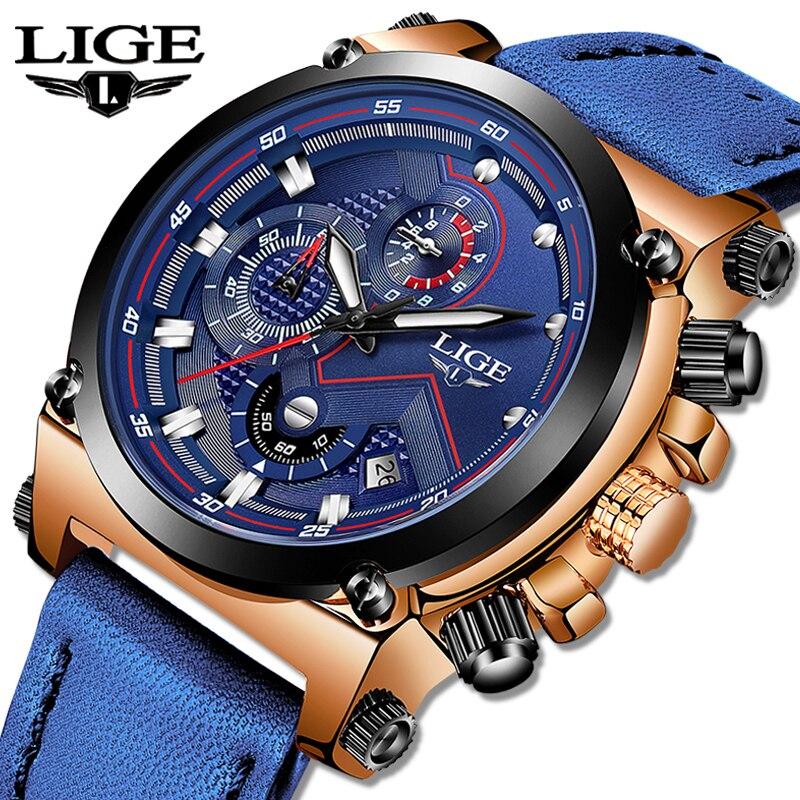 LIGE 時計高級ブランドの男性用アナログ革スポーツはメンズアーミーミリタリー · ウォッチ男性日付クォーツ時計レロジオ Masculino 2019  グループ上の 腕時計 からの クォーツ時計 の中 1