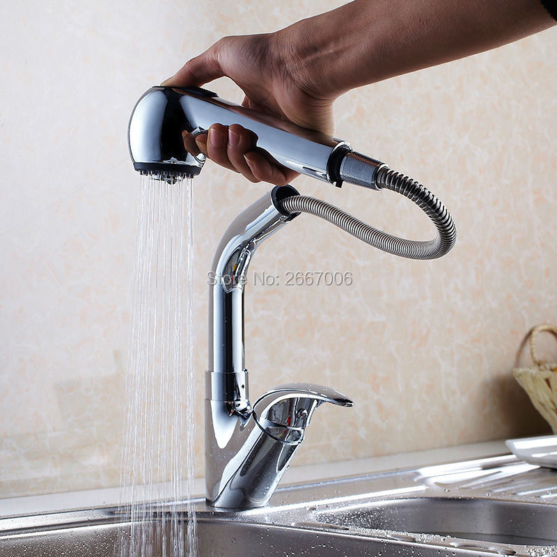 Free shipping Flexible Kitchen Pull Out Faucet Chrome Brass Sink Mixer Taps Deck Mounted Hot and
