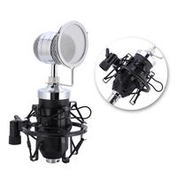 Professional Audio Condenser Microphone Set Recording Mic With Shock Mount For Radio Braodcasting Singing