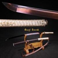 Ручной работы полный тан японская катана синий клинок из дамасской стали реального самурайский меч острый край кожа оболочка