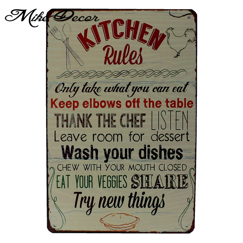Vintage Posters For Kitchen Wire Rack Mike86 Poem Funny Family Life Rule Quote Metal Painting Store Wall Art Decor Fg 121 In Calligraphy From Home Garden