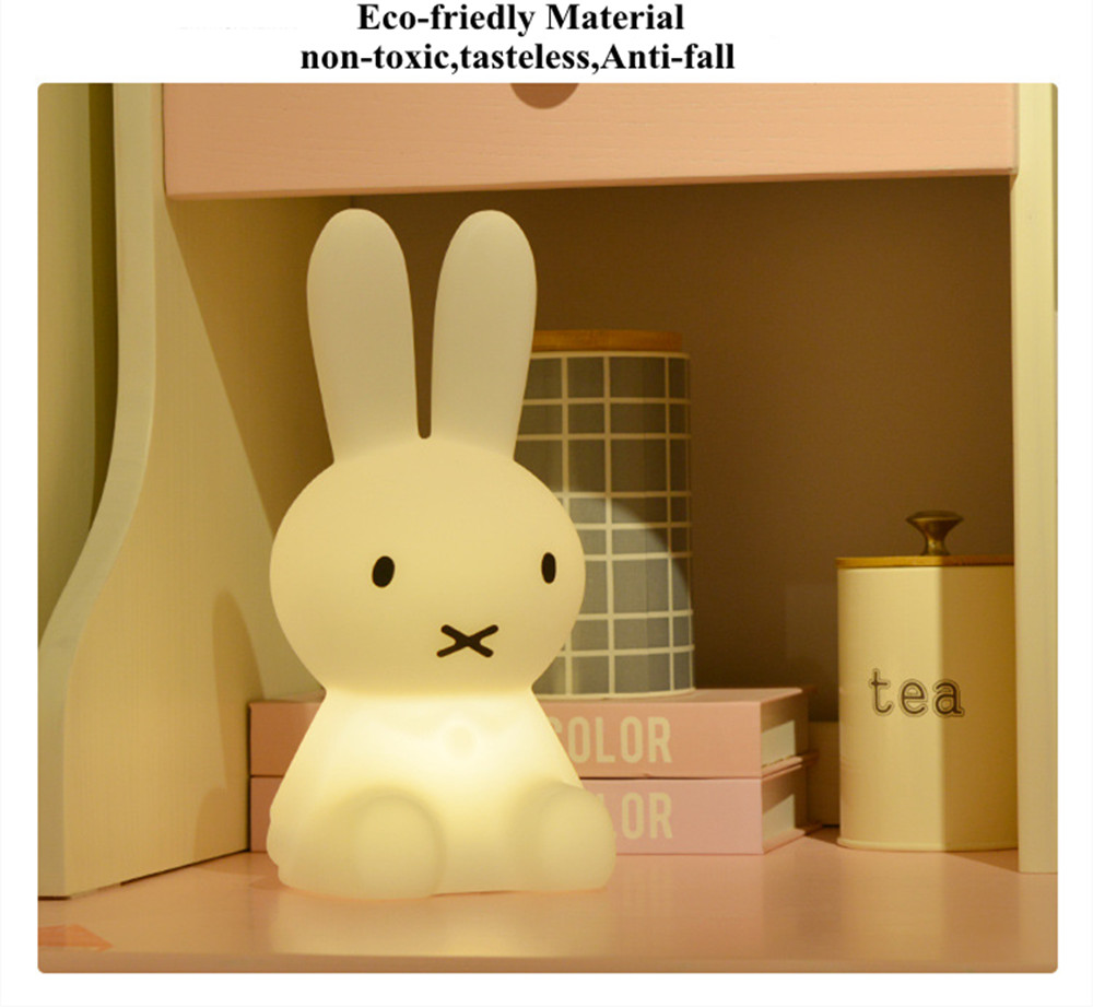 SuperNight Cartoon Rabbit LED Night Light Dimmable Rechargeable Touch Sensor Bedroom Bedside Table Lamp for Baby Kids Toy Gift (20)