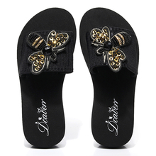 6CM/3CM Heel Height Bling Bee Women Slides Summer Cozy Shoes Flip Flop Fashion Slippers Outside Ladies