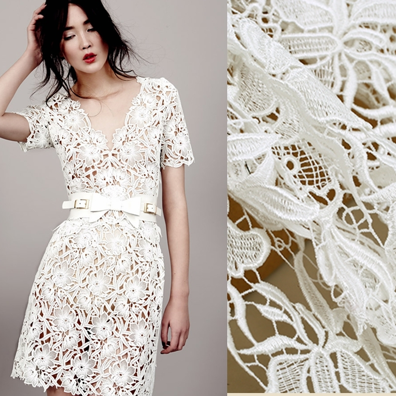 Heavy industry white water soluble lace embroidery fabric for dress tecidos a metro tela shabby chic DIY tissus cheap fabrics