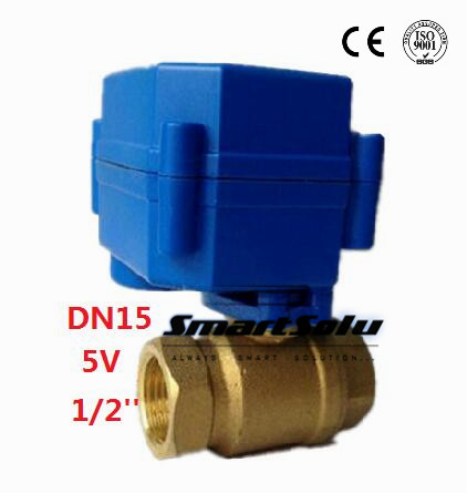 ФОТО Free Shipping DN15,1/2'' Brass Micro Electric Ball Valve 5VCWX-15Q,2 way Mini Motor Operated Ball Valve,CR02 3wires control type