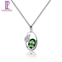 Lohaspie Solid 18K White Gold Genuine Chrome Diopside & Diamond Leaf Shape Pendant & Necklace For Women's Gemstone Fine Jewelry