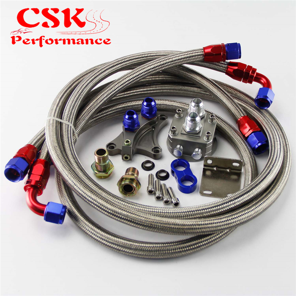 AN10 Filter Sandwich Adapter+Nylon Braided or SS Braided Oil Line Fits For Nissan SR20DET S13 S14 S15 SR20DE Black/Silver