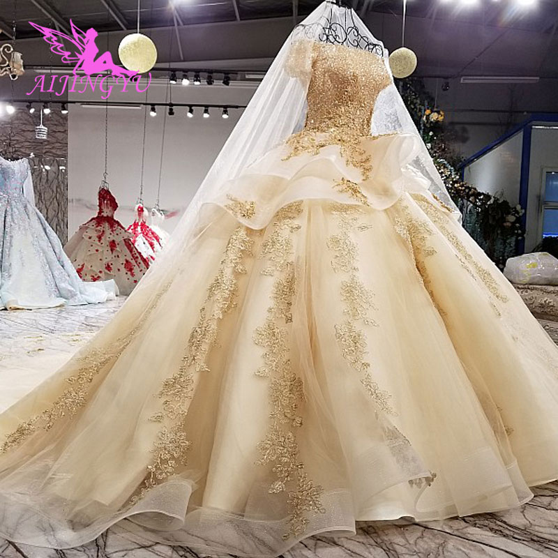 AIJINGYU Italian Wedding Dresses Angel Gowns Bridal Shower Long 2019 Robe Sequin Ball Sexy Accessories Luxury Lace Bride