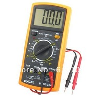 DT9208A Yellow Black AC/DC LCD Display 8 Fuction Digital Multimeter Tester Instrument Measure Voltage Current Ohm hfe Frequency
