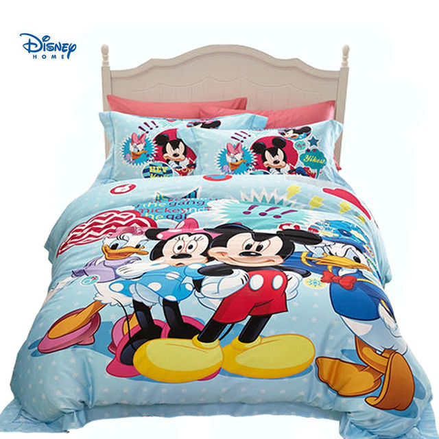 disney mickey minnie mouse comforter bedding set Donald Duck print girl kid boy room decor 100% cotton bed quilt cover blue hot