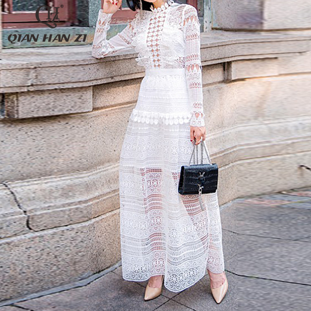 Qian Han Zi 2019 Maxi Long Dress Women's Long Sleeve Lace Hollow out Embroidery Dress Solid White Elegant Formal Party Dresses