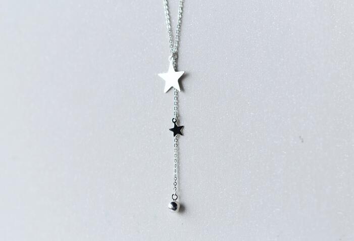 Real. 925 Sterling Silver Jewelry Lariat Naszyjnik z Double Star i - Wykwintna biżuteria - Zdjęcie 4