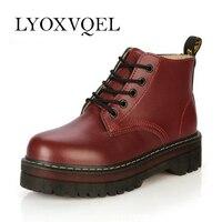 Women Lace Up Martin Boots Genuine Leather Combat Punk Ankle Boots Platform Oxfords Shoes Size 35
