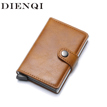 DIENQI Rfid Card Holder Men Wallets Money Bag Male Vintage Brown Short Purse 2018 Small Leather Smart Wallets Mini Wallets