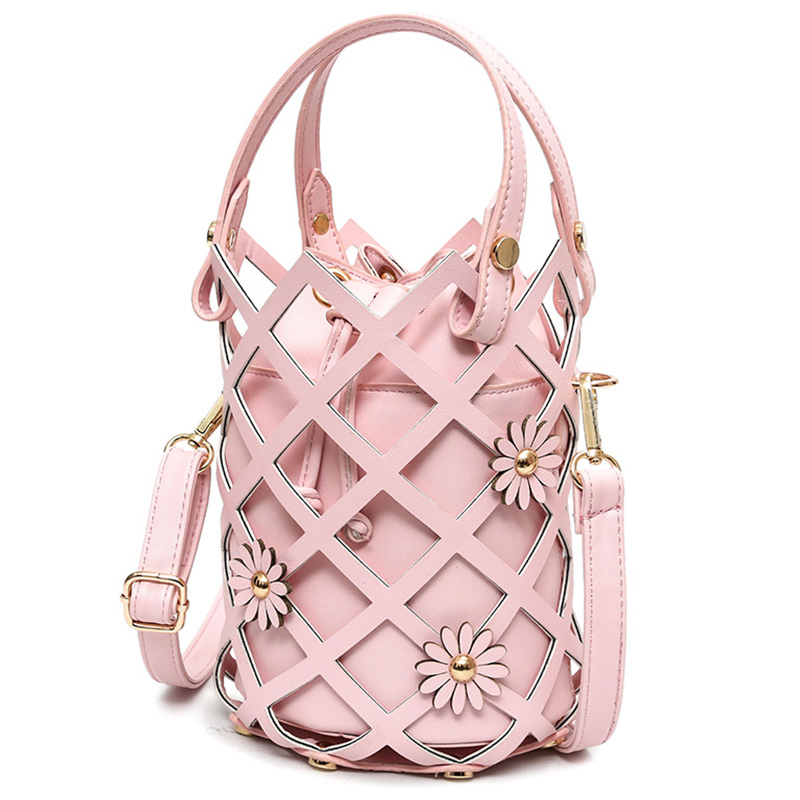 2017 Summer Hot Sale Hollow Out Bucket Women handbangs Fresh Style Beach Women Shoulder Bags Pink Color 254 punk style pure color hollow out ring for women