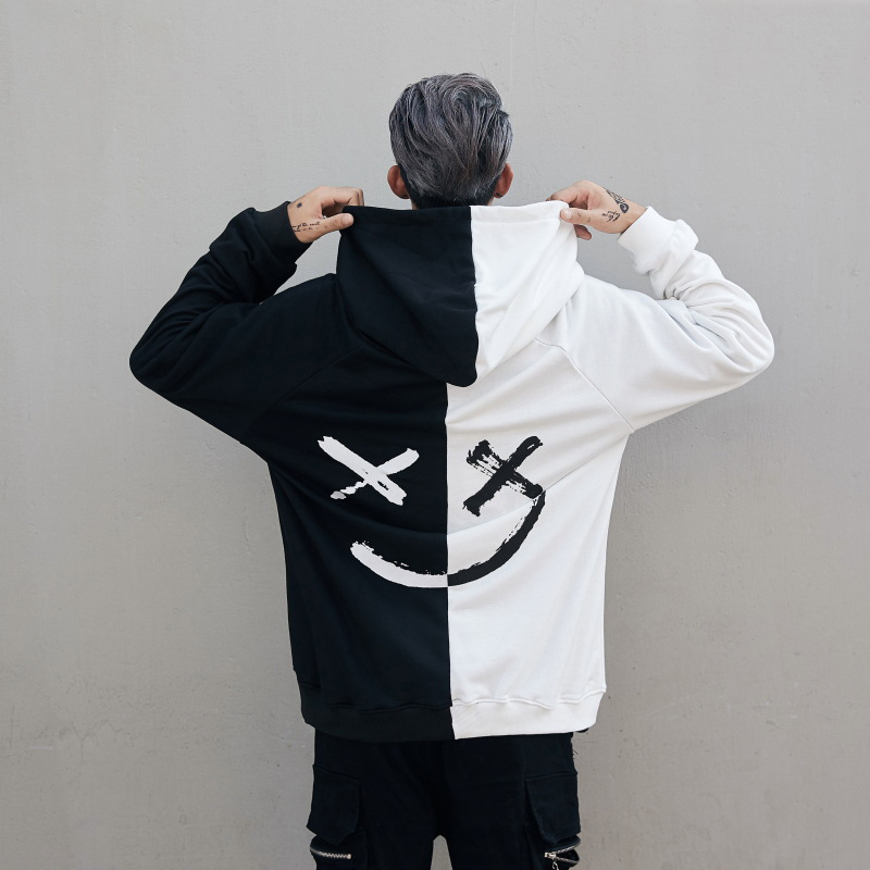 Suppliers Happy Smile Hoodie Sweatshirts for Men Drawstring Hood Hip Hop   White Red Women Dropped Shoulders 2019(China)