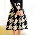 Nueva Moda Elegante Mujeres plisado falda de Cintura Alta de pata de Gallo Estampado floral Faldas Largas de Verano Retro faldas saia faldas Y3