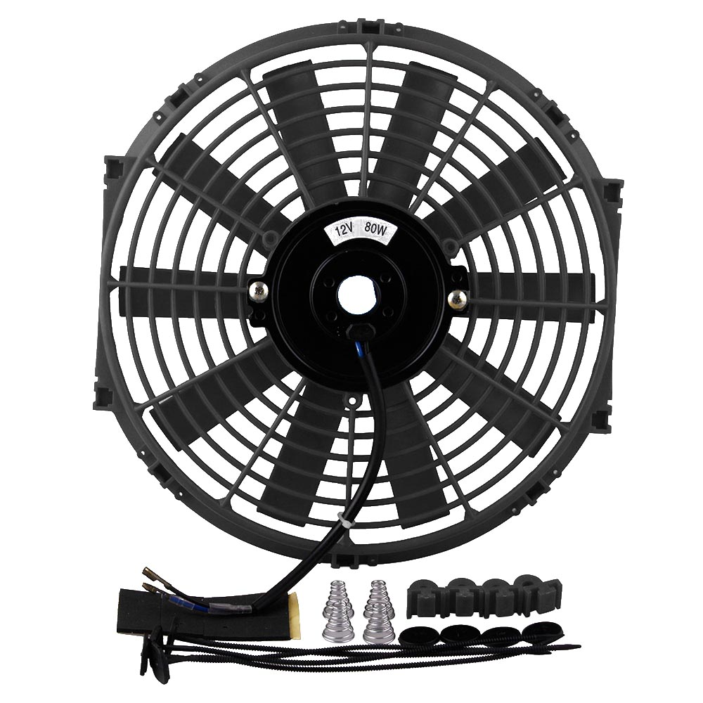 Cooling System Auto Replacement Parts 12 High Performance Electric Cooling Fan Push Pull Electric Radiator Slim Fan 12v 80w 2150cfm With Mounting Kit Diameter 11.73