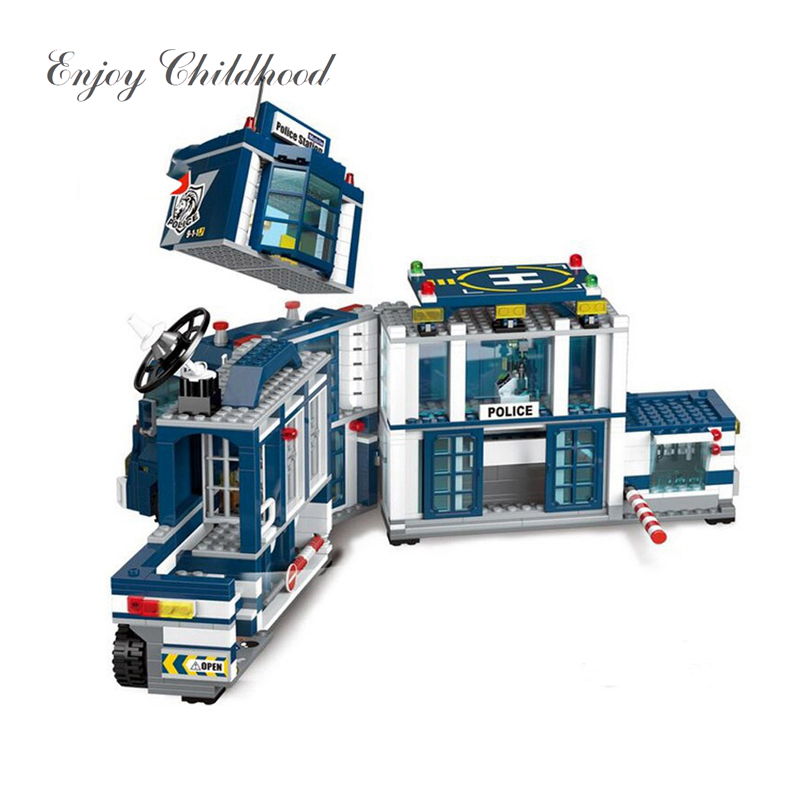 Building Block City Police 2 in 1 Mobile Police Station 7 Figures 951PCs Educational Bricks Toy Legoings Juguetes Educativos sermoido building block city police 2 in 1 mobile police station 7 figures 951pcs educational bricks toy compatible with lego