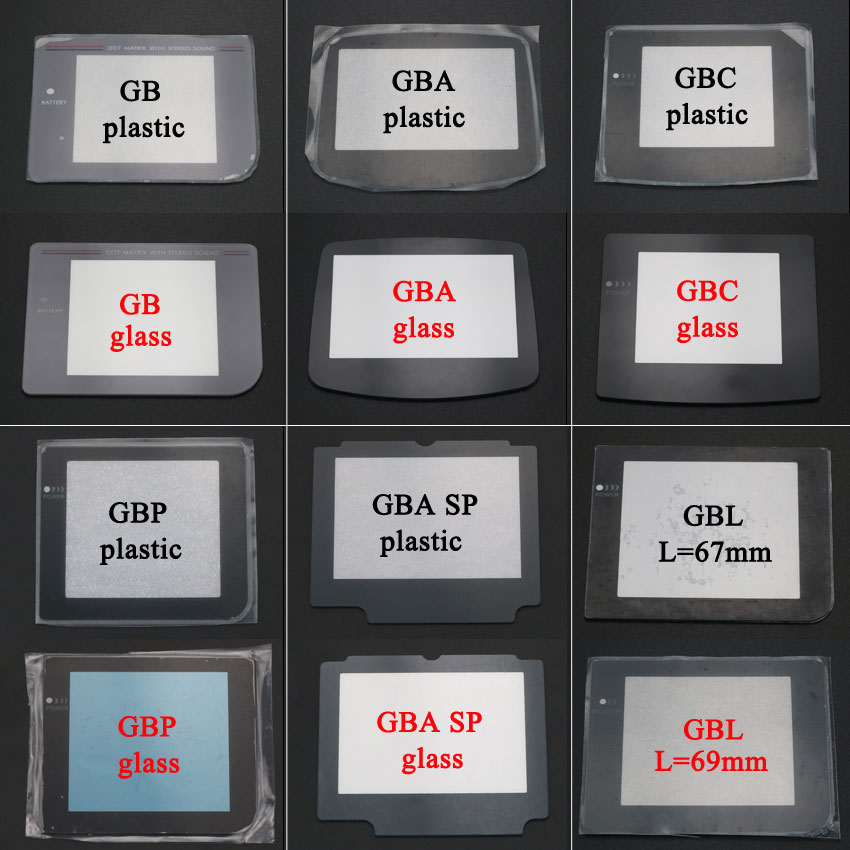 YuXi New Plastic Glass Screen Lens For Gameboy Color Advance For GB GBA SP GBC GBL GBP Lens Protector W/ Adhensive