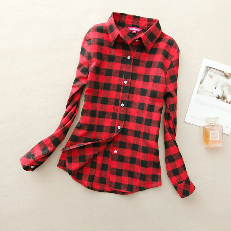 Autumn Winter Ladies Female Casual Cotton Lapel Long Sleeved Plaid Shirt Women Slim Outerwear Blouse Tops Clothing 2017 Hot Sale