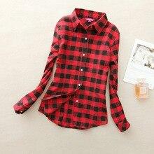 Autumn Winter Ladies Female Casual Cotton Lapel Long Sleeved Plaid Shirt Women Slim Outerwear Blouse Tops Clothing 2017 Hot Sale