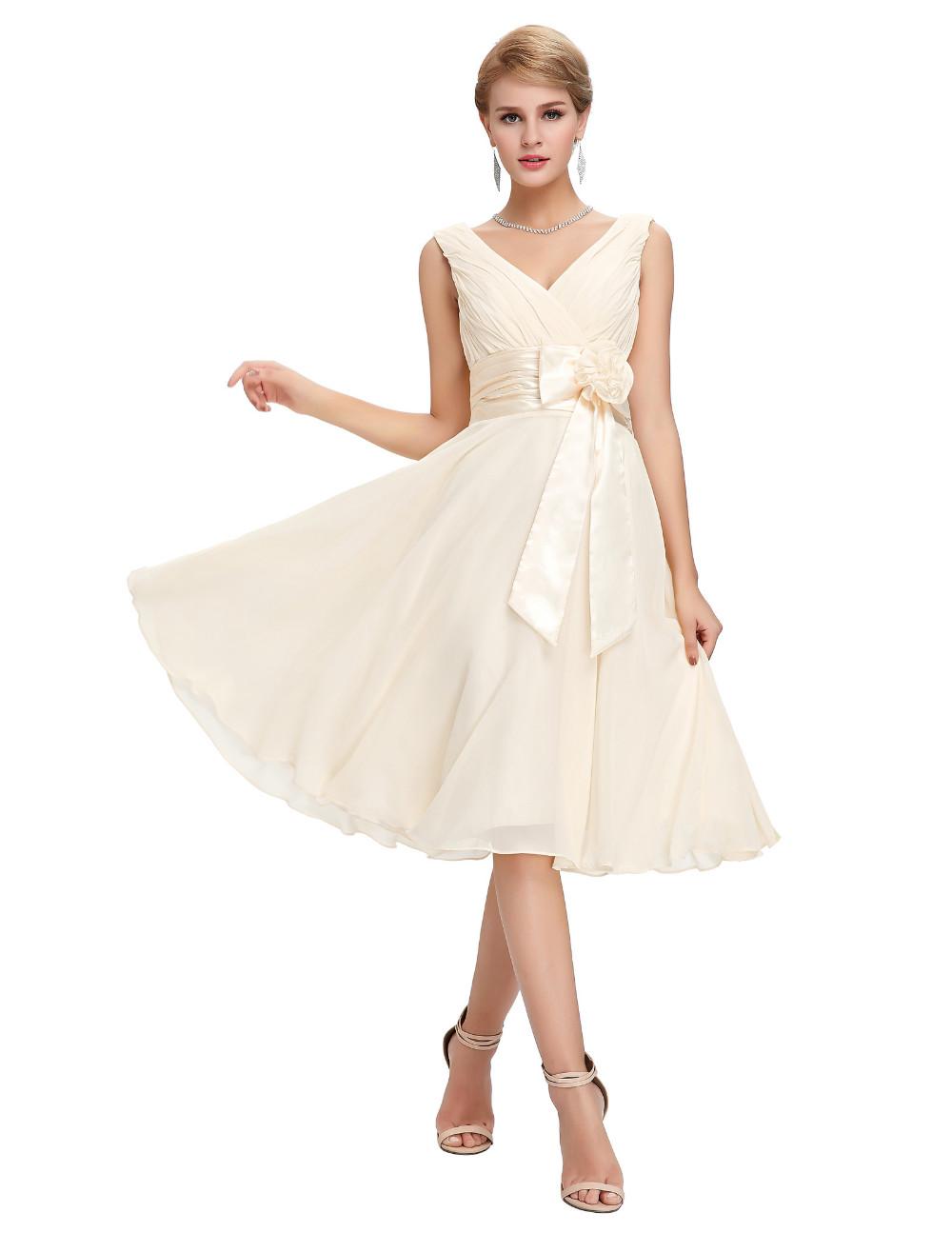 Knee Length Short Chiffon Bridesmaid Dress 3