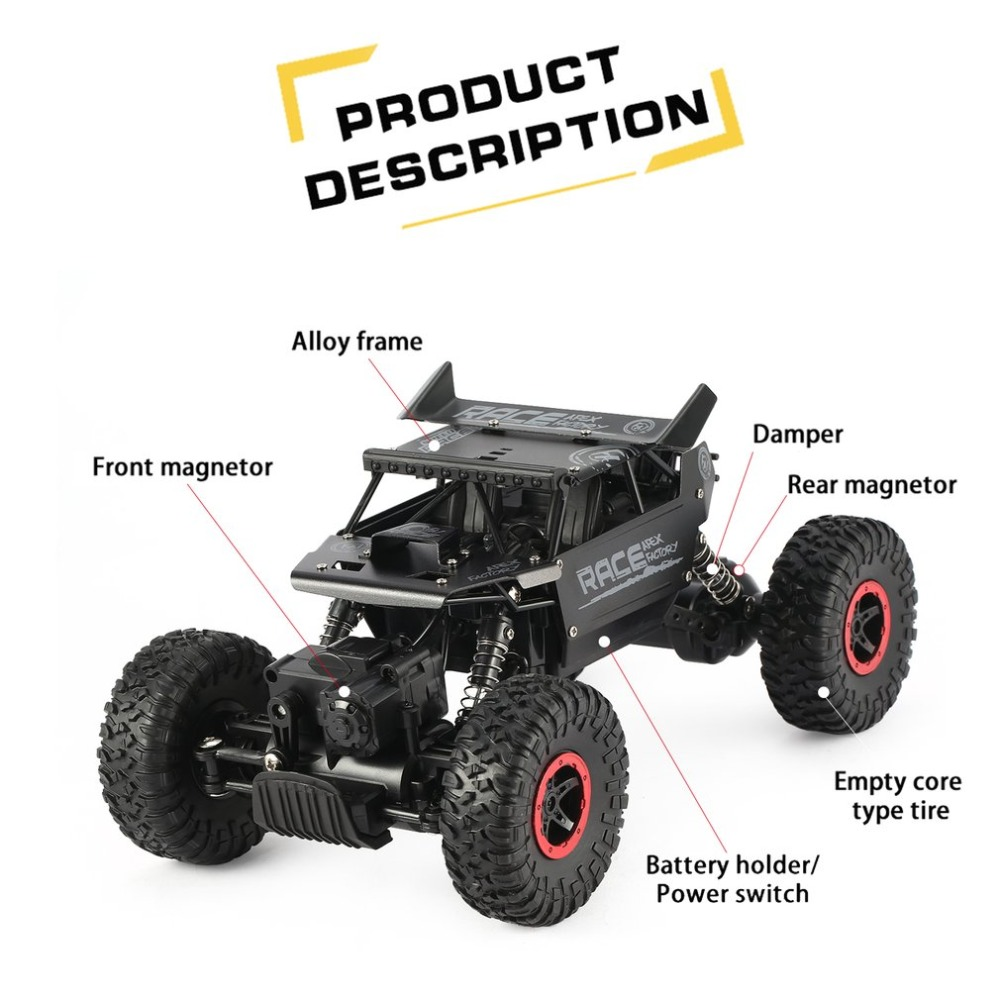 Flytec 9118 1/18 2.4G 4WD Alloy Off Road 35km/h RC Climbing Car Rock Crawler Clamber Remote Control Vehicle Kids Toy