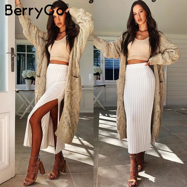 BerryGo Vintage mohair long cardigan women sweaters female Long sleeve pocket winter cardigans Casual knitwear knitted jumpers 2