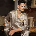 Valentine Brand Autumn Twinset Silk Sleepwear Long-sleeve Male 100% Mulberry Silk Two Piece Pajama Sets L/XL/XXL Free Shipping