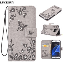 LUCKBUY Bling Wallet Flip PU Leather Case For Samsung Galaxy S6 S7 edge S8 plus Phone Bags Rhinestone Butterfly Flower Fundas