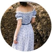 LYNETTE'S CHINOISERIE Summer Women blue and white porcelain print cotton 100% slit neckline lace long dresses