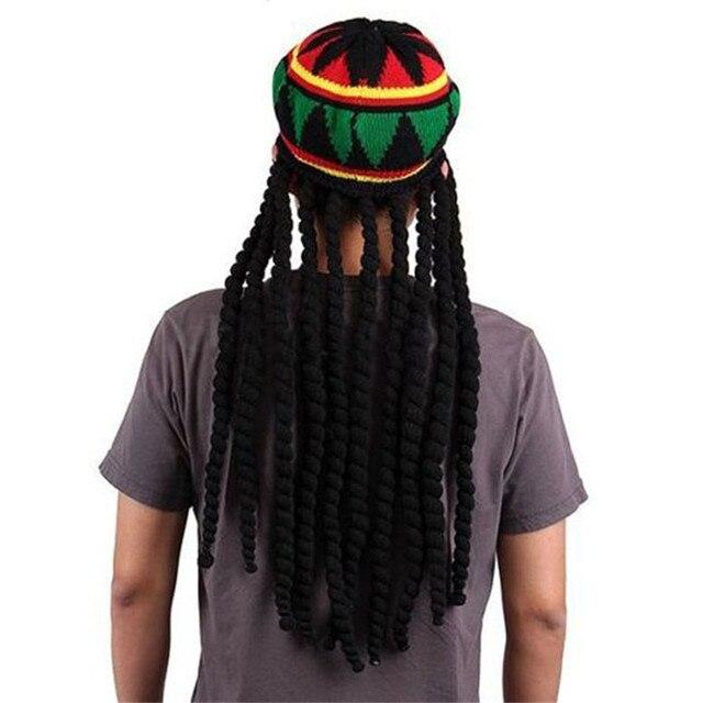 Men Women Jamican Rasta Hat Dreadlocks Wig Bob Marley Caribbean Fancy Dress  Prop Unisex Knitted Beanie a9d6c4627e4d