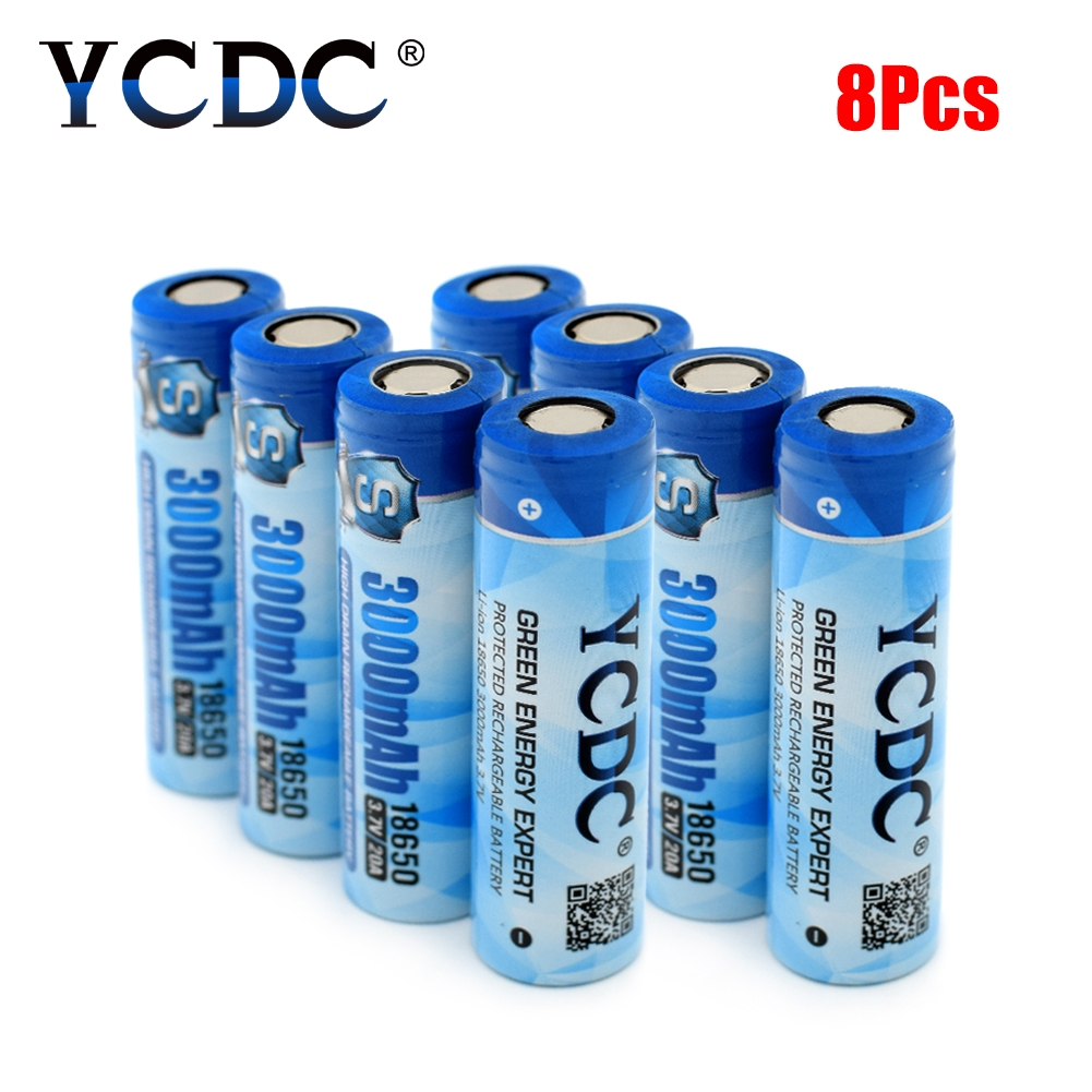 Cheap 8Pcs 100% Original Li-ion 18650 Battery 3.7V 3000mAh Rechargeable Batteries 18650 Widely Use On Torch Strong Flashlight